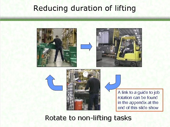 Reducing duration of lifting A link to a guide to job rotation can be