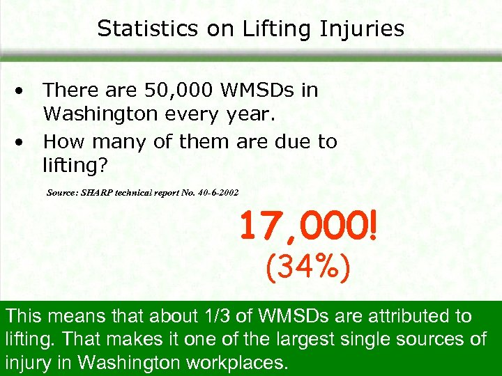 Statistics on Lifting Injuries • There are 50, 000 WMSDs in Washington every year.