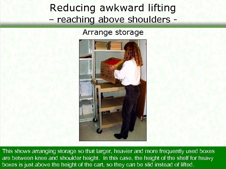 Reducing awkward lifting – reaching above shoulders Arrange storage This shows arranging storage so