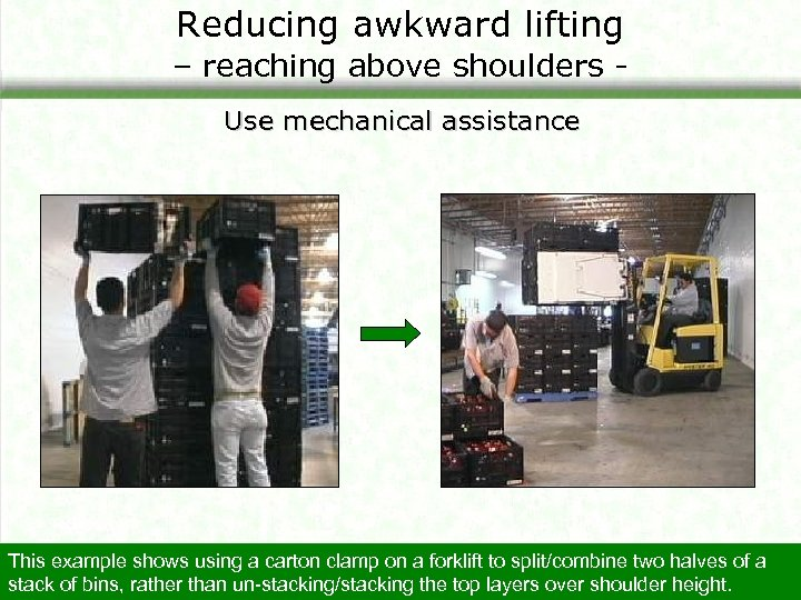 Reducing awkward lifting – reaching above shoulders Use mechanical assistance This example shows using