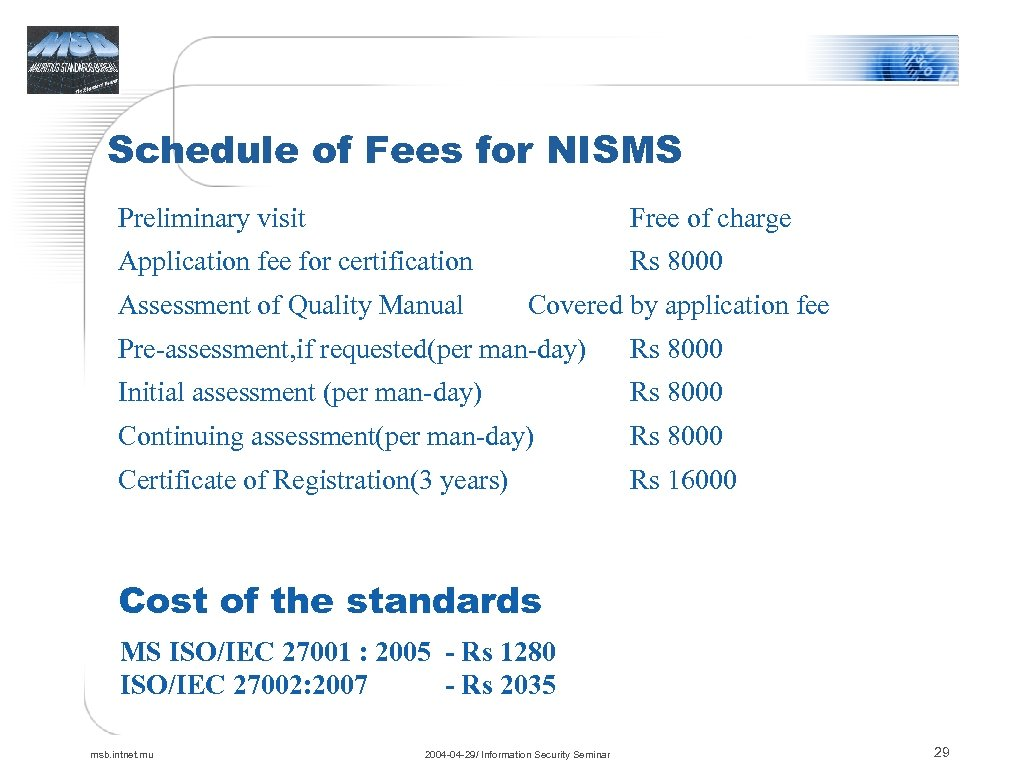 Schedule of Fees for NISMS Preliminary visit Free of charge Application fee for certification