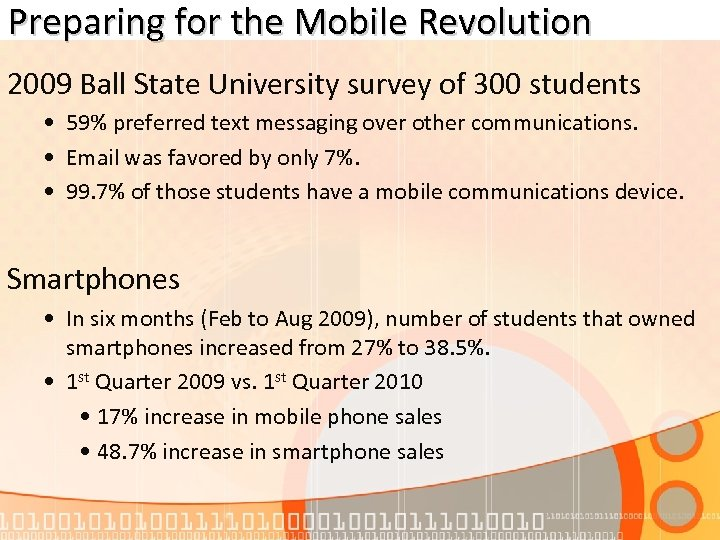 Preparing for the Mobile Revolution 2009 Ball State University survey of 300 students •