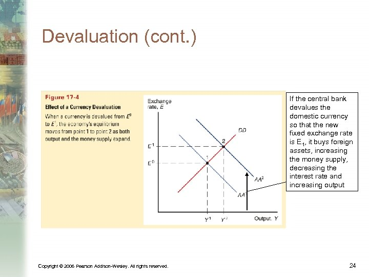 Devaluation (cont. ) If the central bank devalues the domestic currency so that the