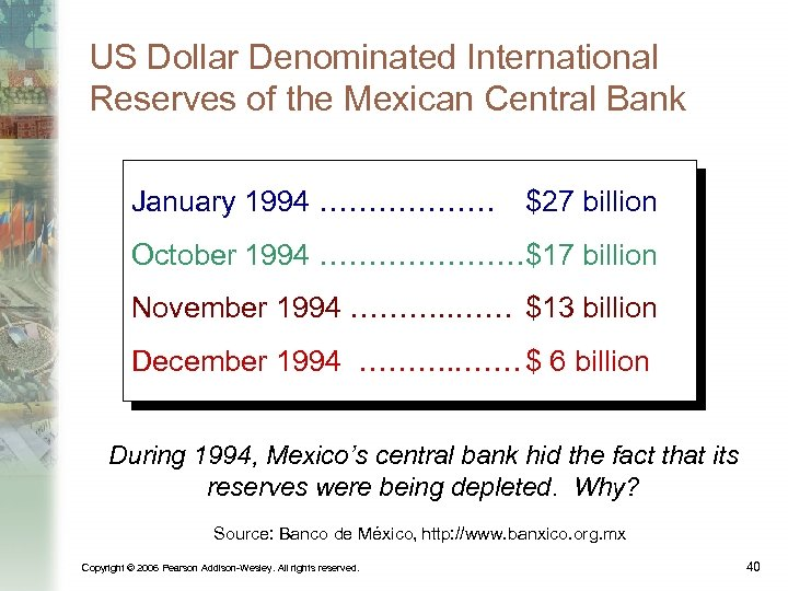 US Dollar Denominated International Reserves of the Mexican Central Bank January 1994 ……………… $27