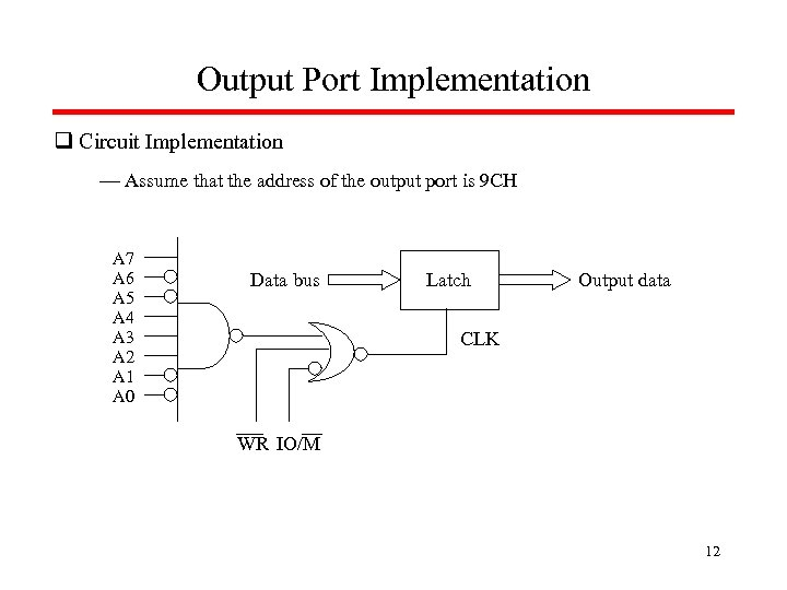 Output Port Implementation q Circuit Implementation — Assume that the address of the output