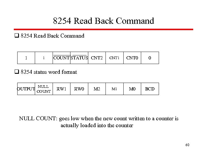8254 Read Back Command q 8254 Read Back Command 1 1 COUNT STATUS CNT