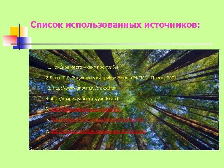 Список использованных источников: 1. Грибное место – сайт про грибы 2. Ляхов П. Р.