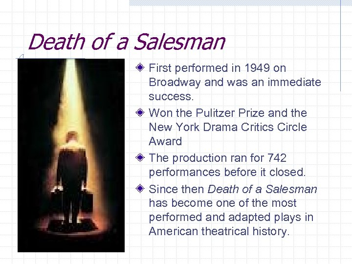 Death of a Salesman First performed in 1949 on Broadway and was an immediate