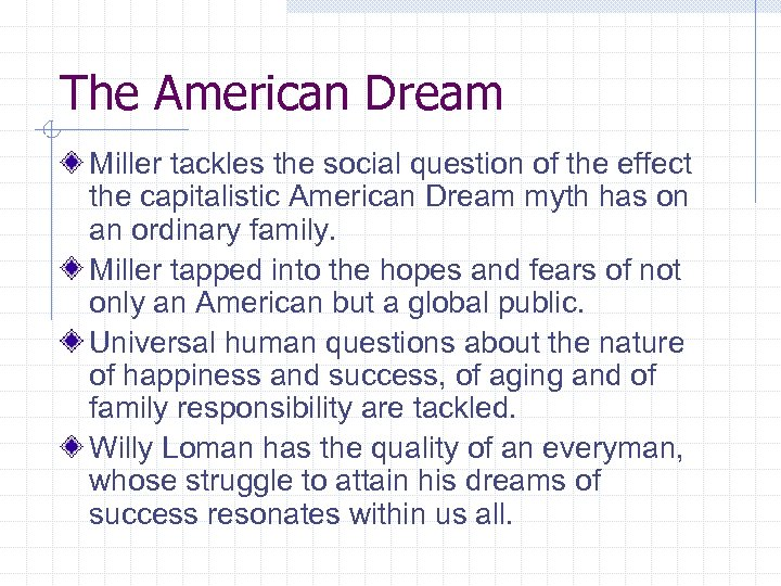 The American Dream Miller tackles the social question of the effect the capitalistic American