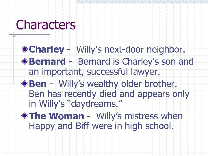 Characters Charley - Willy's next-door neighbor. Bernard - Bernard is Charley's son and an