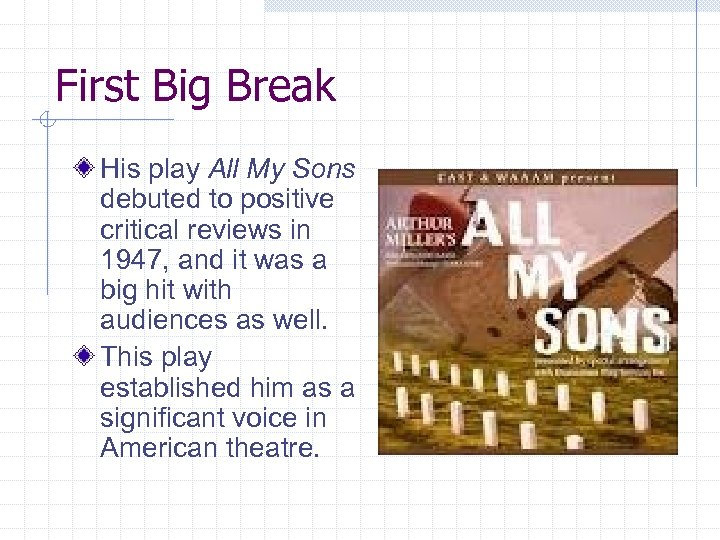 First Big Break His play All My Sons debuted to positive critical reviews in