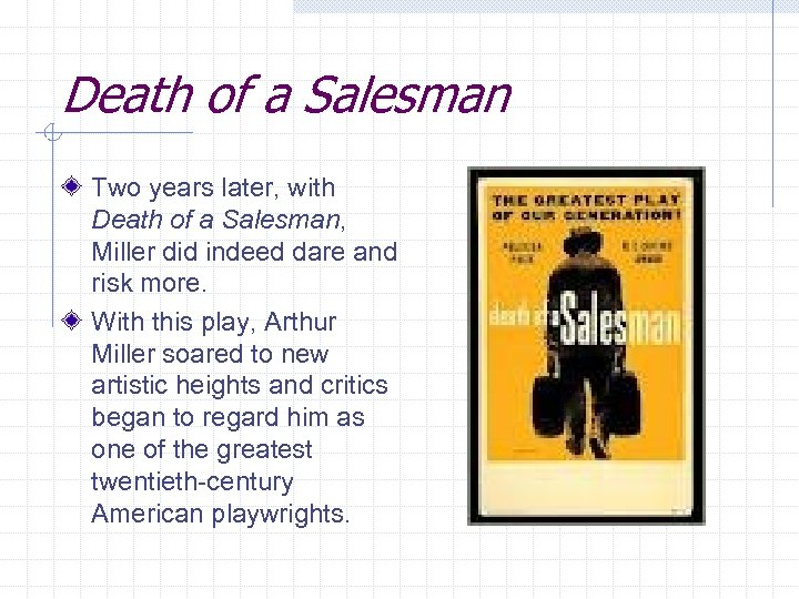 an analysis of the loman family in death of a salesman a play by arthur miller Willy loman ,the protagonist in the play was a travelling salesman in the services of the wagnor company for 34 years when his old boss died ,his son howard took over the administration of the company willy's family consists of three other members ,his wife linda, biff,the elder son and happy, the younger son.