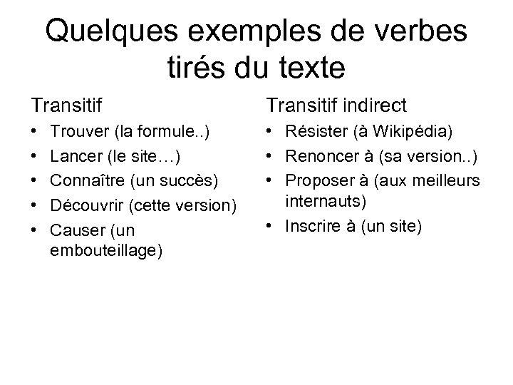 Quelques exemples de verbes tirés du texte Transitif indirect • • • Résister (à