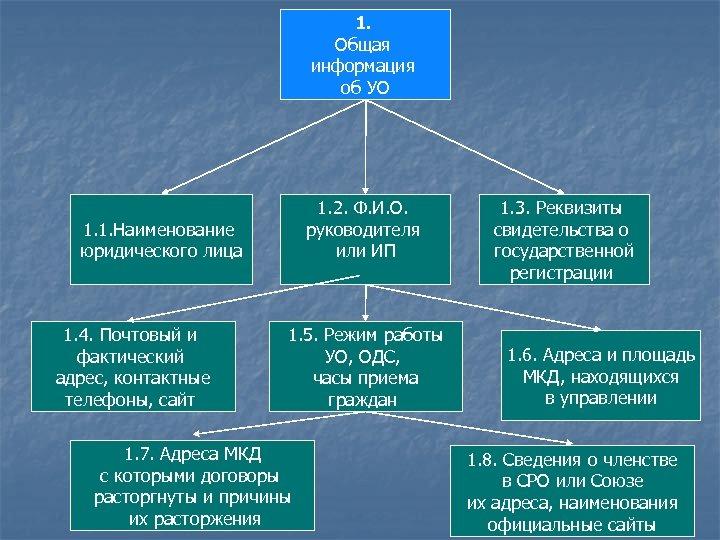 1. Общая информация об УО 1. 2. Ф. И. О. руководителя или ИП 1.