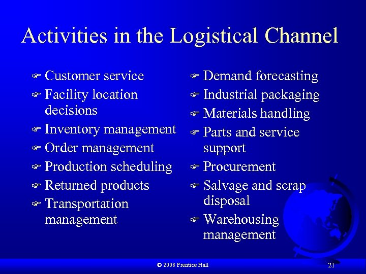 Activities in the Logistical Channel Customer service F Facility location decisions F Inventory management