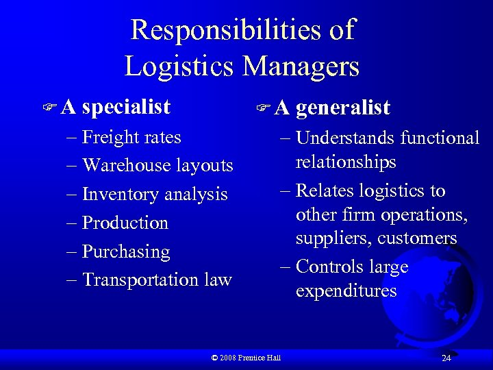 Responsibilities of Logistics Managers FA specialist FA – Freight rates – Warehouse layouts –