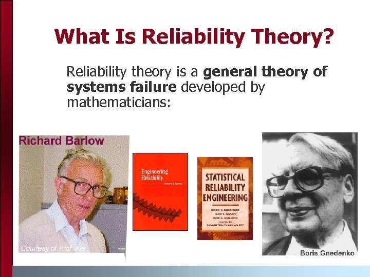 What Is Reliability Theory? Reliability theory is a general theory of systems failure developed