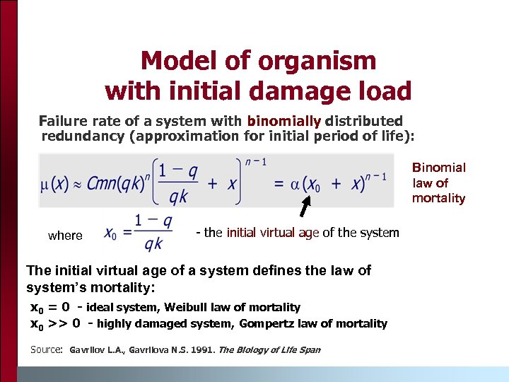 Model of organism with initial damage load Failure rate of a system with binomially