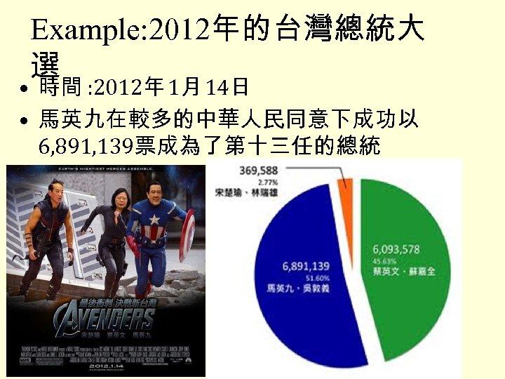 Example: 2012年的台灣總統大 選 • 時間 : 2012年 1月 14日 • 馬英九在較多的中華人民同意下成功以 6, 891, 139票成為了第十三任的總統