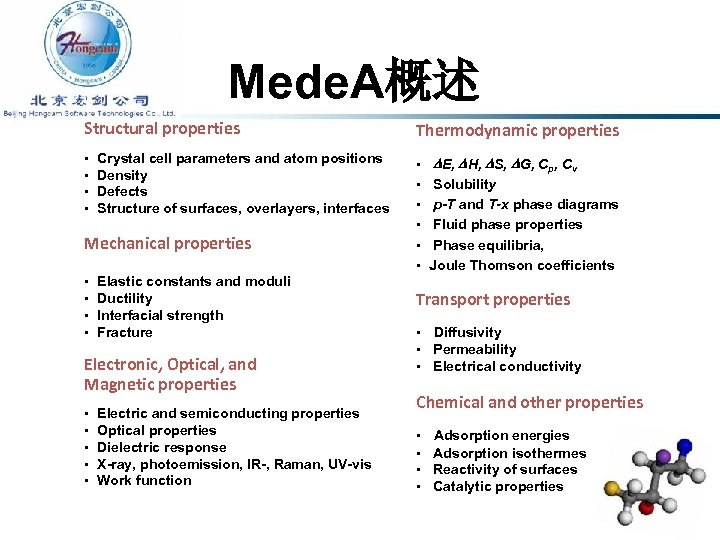 Mede. A概述 Structural properties • • Crystal cell parameters and atom positions Density Defects