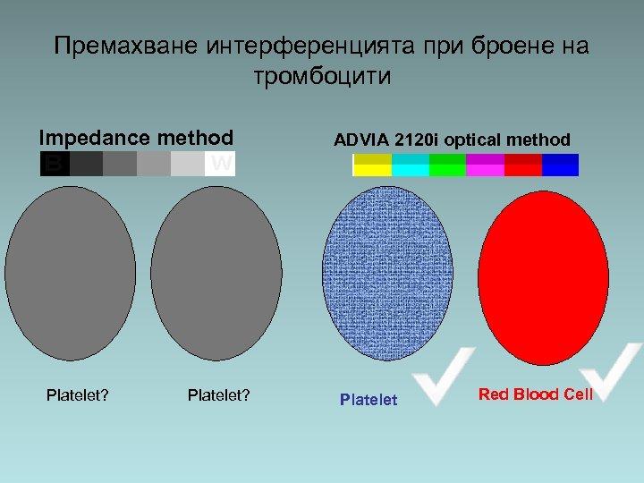 Премахване интерференцията при броене на тромбоцити Impedance method Platelet? ADVIA 2120 i optical method