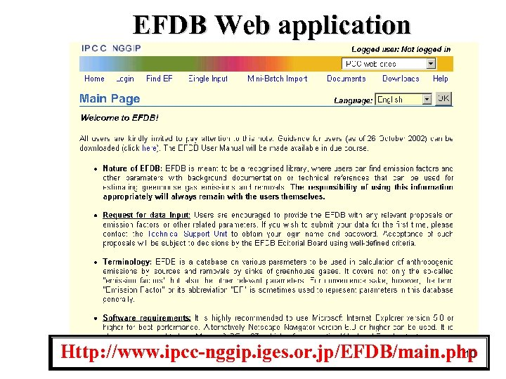 EFDB Web application 10 Http: //www. ipcc-nggip. iges. or. jp/EFDB/main. php