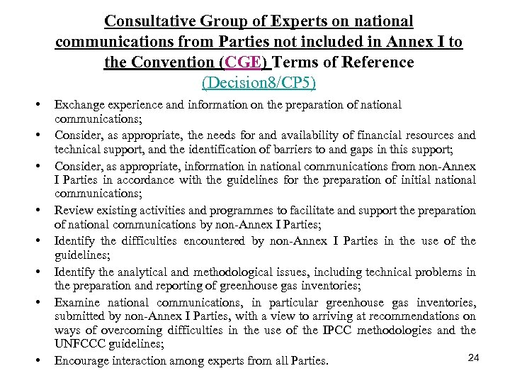 Consultative Group of Experts on national communications from Parties not included in Annex I