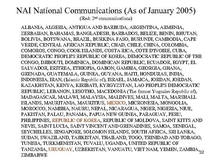 NAI National Communications (As of January 2005) (Red: 2 nd communications) ALBANIA, ALGERIA, ANTIGUA
