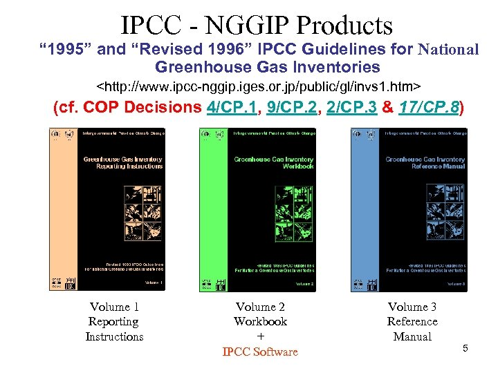 """IPCC - NGGIP Products """" 1995"""" and """"Revised 1996"""" IPCC Guidelines for National Greenhouse"""