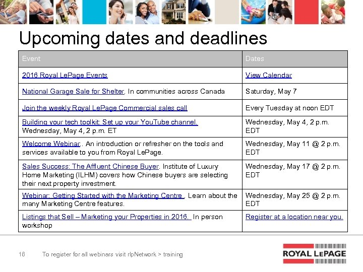 Upcoming dates and deadlines Event Dates 2016 Royal Le. Page Events View Calendar National