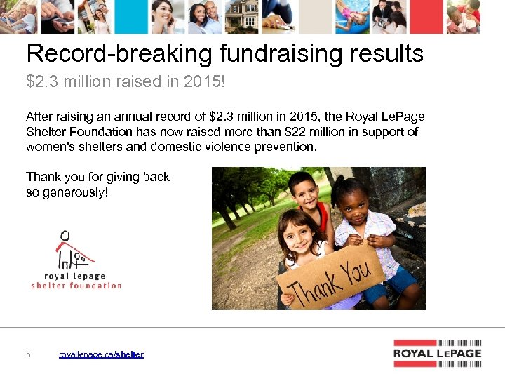 Record-breaking fundraising results $2. 3 million raised in 2015! After raising an annual record