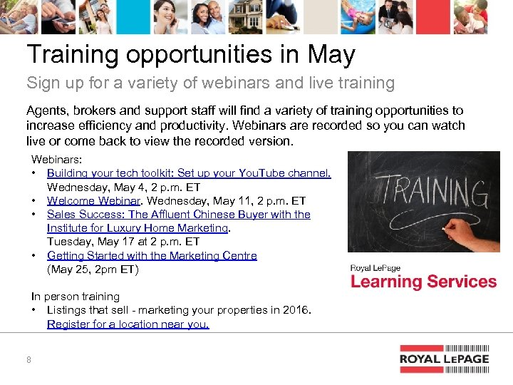 Training opportunities in May Sign up for a variety of webinars and live training