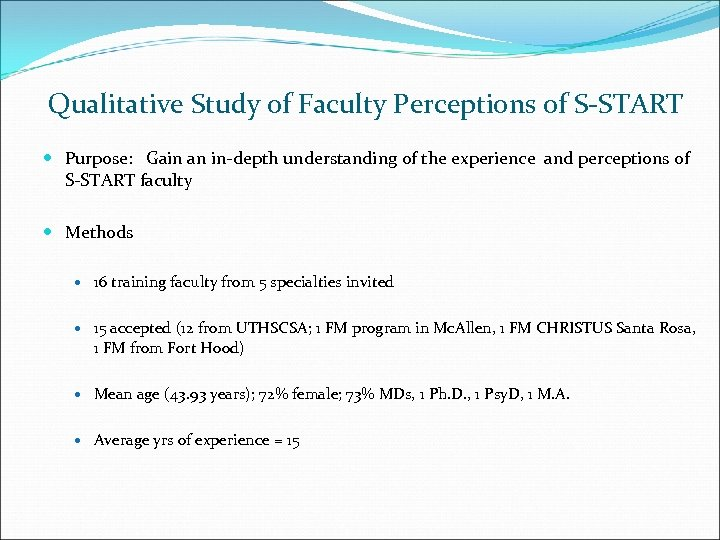 Qualitative Study of Faculty Perceptions of S-START Purpose: Gain an in-depth understanding of the