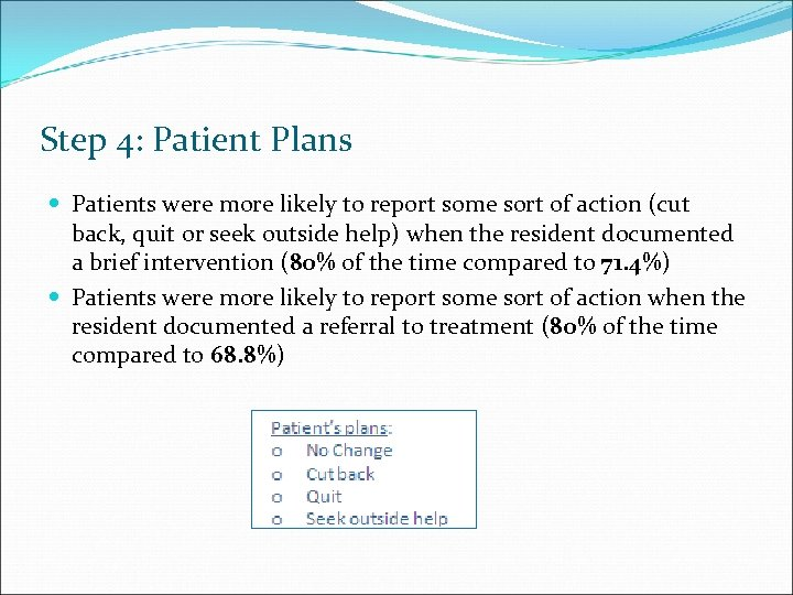 Step 4: Patient Plans Patients were more likely to report some sort of action