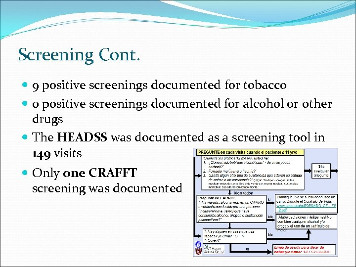 Screening Cont. 9 positive screenings documented for tobacco 0 positive screenings documented for alcohol