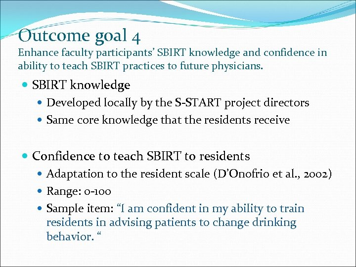 Outcome goal 4 Enhance faculty participants' SBIRT knowledge and confidence in ability to teach