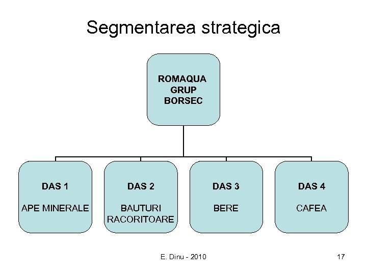 Segmentarea strategica ROMAQUA GRUP BORSEC DAS 1 DAS 2 DAS 3 DAS 4 APE