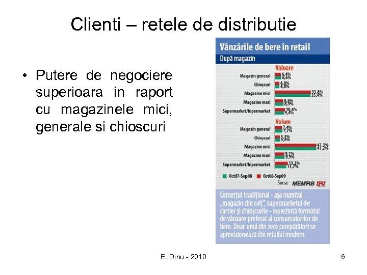 Clienti – retele de distributie • Putere de negociere superioara in raport cu magazinele