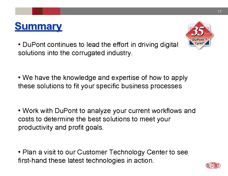 17 Summary • Du. Pont continues to lead the effort in driving digital solutions