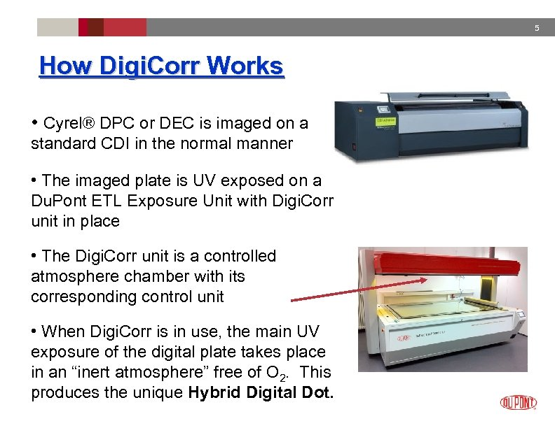 5 How Digi. Corr Works • Cyrel® DPC or DEC is imaged on a