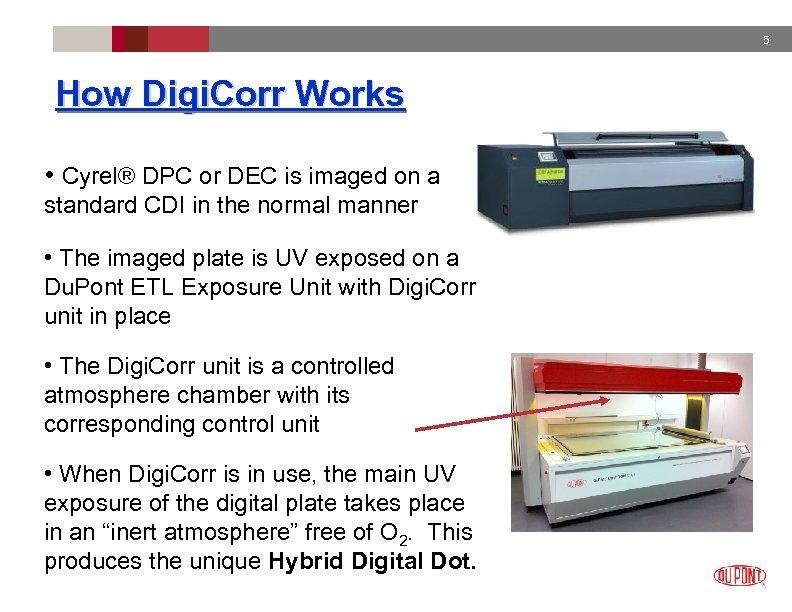 5 How Digi. Corr Works • Cyrel® DPC or DEC is imaged on a
