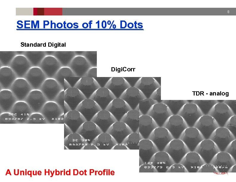 8 SEM Photos of 10% Dots Standard Digital Digi. Corr TDR - analog A