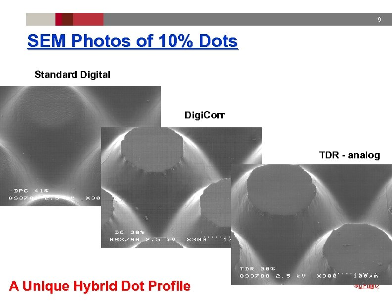 9 SEM Photos of 10% Dots Standard Digital Digi. Corr TDR - analog A