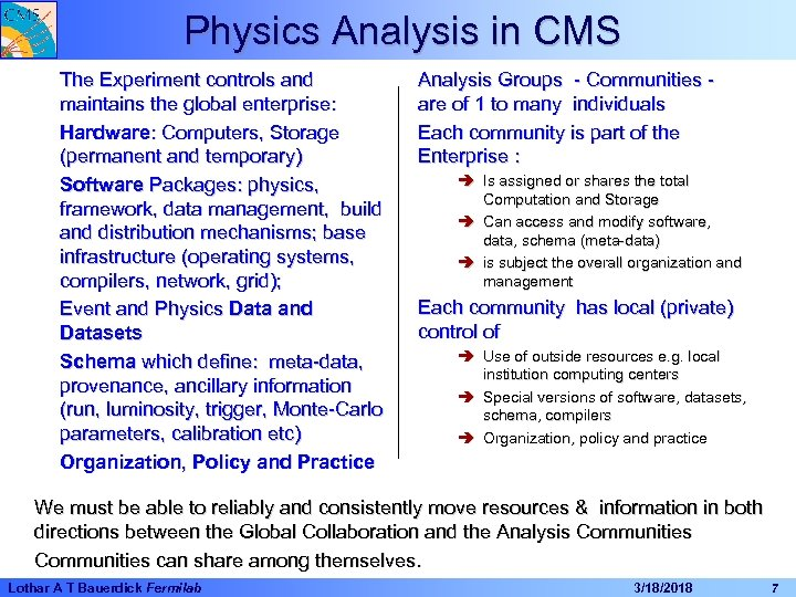 Physics Analysis in CMS The Experiment controls and maintains the global enterprise: Hardware: Computers,