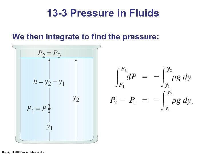 13 -3 Pressure in Fluids We then integrate to find the pressure: Copyright ©