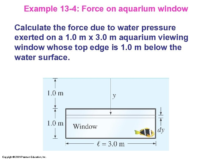 Example 13 -4: Force on aquarium window Calculate the force due to water pressure