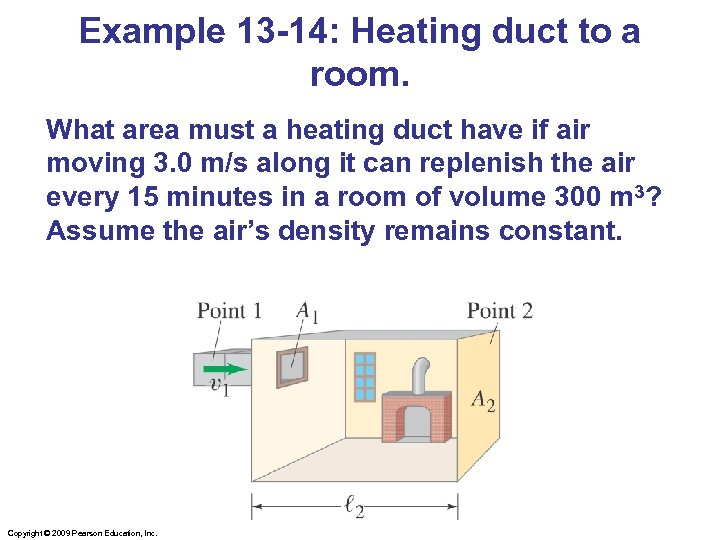 Example 13 -14: Heating duct to a room. What area must a heating duct