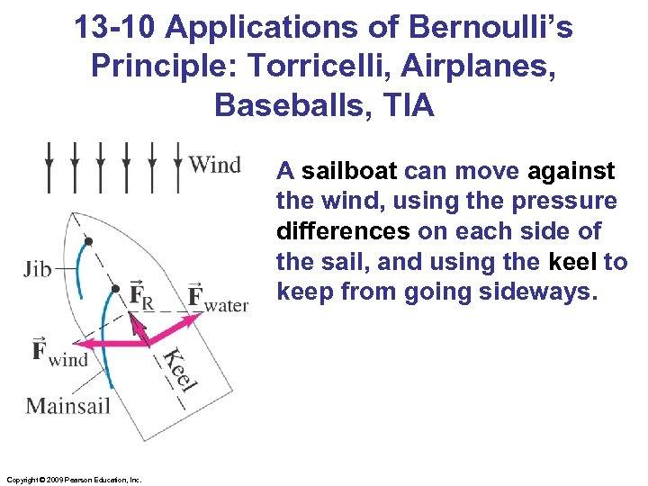 13 -10 Applications of Bernoulli's Principle: Torricelli, Airplanes, Baseballs, TIA A sailboat can move
