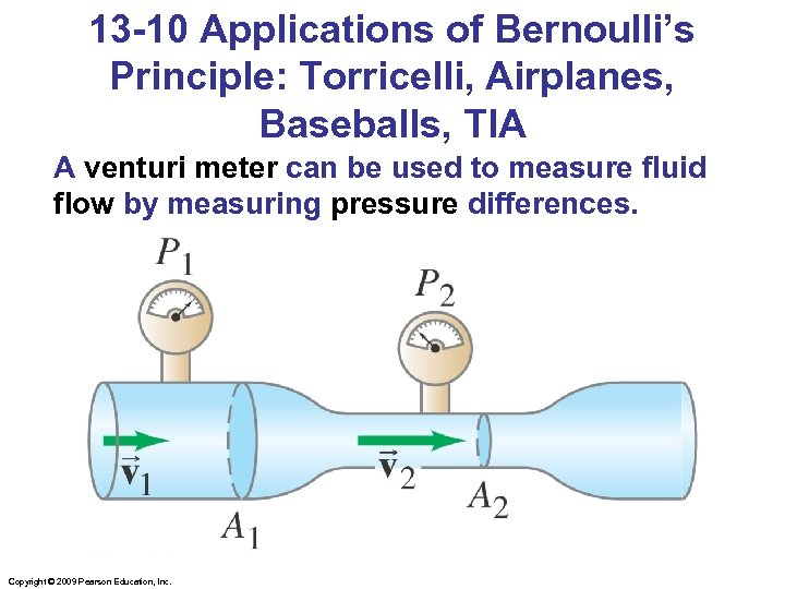 13 -10 Applications of Bernoulli's Principle: Torricelli, Airplanes, Baseballs, TIA A venturi meter can