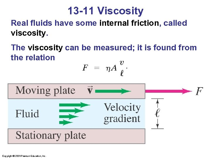 13 -11 Viscosity Real fluids have some internal friction, called viscosity. The viscosity can